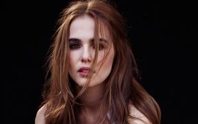 Wallpaper model, portrait, makeup, actress, hairstyle, brown hair, black background, photoshoot, Zoey Deutch, Zoey Deutch, Isaac ...
