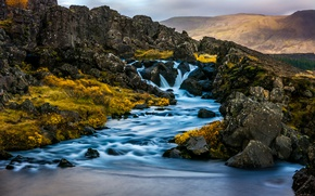 Picture mountains, waterfall, river, Iceland, Iceland
