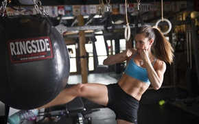 Picture woman, martial arts, kick, bag to hit