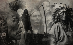 Wallpaper black and white, figure, leaders, the Indians, collage