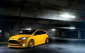 Picture Ford, focus, Parking, Focus, Ford, yellow, fluorescent lamp, front