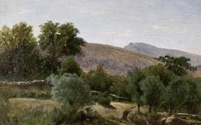 Picture trees, mountains, nature, Carlos de Haes, Landscape near Monastery