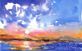 Picture sea, landscape, watercolor