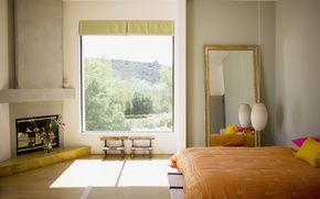 Picture light, flowers, morning, fireplace, bedroom