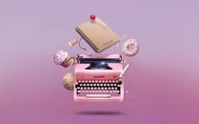 Picture handle, typewriter, candy, donut, notebook, notebook, cupcake, cupcake, donut, candy, pen, pin, writing, eraser, typewriter, …