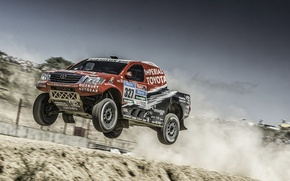 Picture jump, desert, dust, cloud, Toyota, Car, Hilux, Rally, Dakar