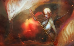 Picture girl, fiction, fire, flame, dragon