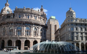 Picture home, Italy, fountain, Genoa, the Piazza