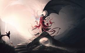 Wallpaper bridge, wings, black, nafig differences!, love, figure, sword, white, angels, contrast