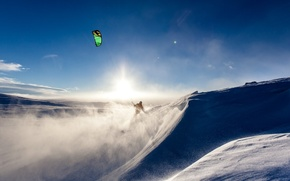 Picture sport, snowboard, sky, nature, snow, sail, Sky diving