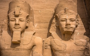 Picture ancient, statues, Abu Simbel