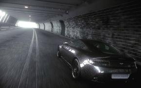 Picture road, machine, rain, Aston Martin, Car