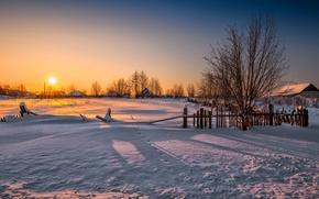 Picture winter, landscape, sunset, house