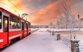 Picture winter, tram, Saint Petersburg