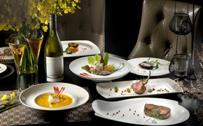 Wallpaper flowers, table, wine, meat, vegetables, seafood, meals, cuts