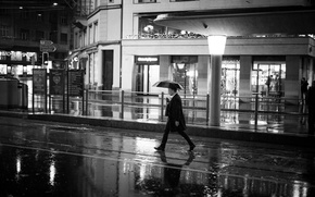 Picture night, the city, lights, umbrella, people, rain, street, puddles, male, coat, shop, city, walking