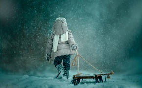 Picture snow, sled, child