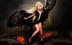 Picture look, girl, hair, wings, dress, fallen angel