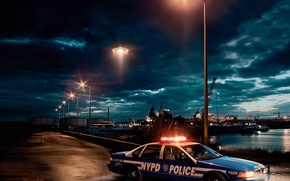 Picture auto, police, UFO, the evening, port, lights