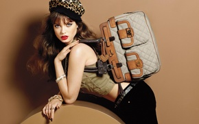 Picture girl, model, advertising, bag, Sandrah Hellberg, accessoriess, Guess