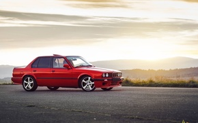 Picture BMW, Red, Sun, Sunset, E30