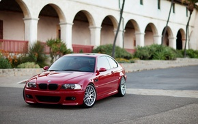 Picture red, the building, bmw, BMW, coupe, red, arch, columns, e46