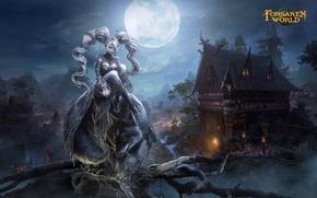 Picture girl, night, village, werewolf, Dark Age-Forsaken World