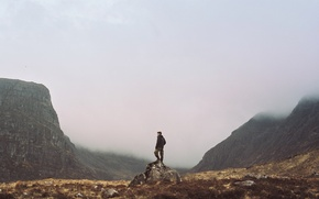 Picture mountains, fog, stone, back, male, valley, hood