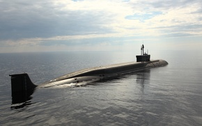 Picture sea, the sky, submarine, Northwind, project 955