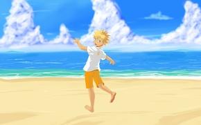 Wallpaper art, Naruto, Naruto, beach, sea, Uzumaki Naruto, Uzumaki Naruto, Anime