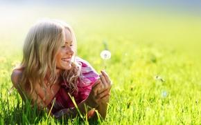 Picture field, summer, girl, smile, dandelion, dress, pink, blonde