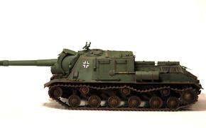 Picture toy, installation, ISU-152, model, self-propelled artillery, heavy, troops, German, trophy