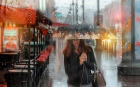 Picture summer, girl, rain, umbrella, Saint Petersburg