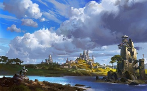 Picture the city, river, fantasy, castle, art, ling xiang
