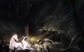 Wallpaper dragon, girl, monster, art, a-shacho, horse, anime