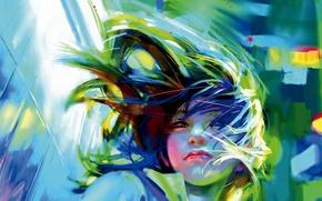 Picture girl, face, the wind, hair, art, benjamin, Zhang Bin