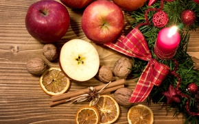 Picture apples, fruit, nuts, Christmas, lemons, New Year, decoration