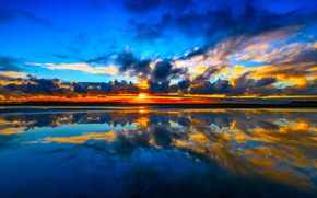 Wallpaper sea, reflection, the sky, coast, clouds, sunset