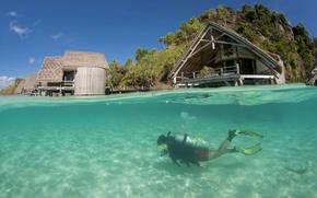 Picture diving, blue lagoon, scuba