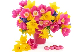 Picture flowers, basket, tulips, flowers, tulips, daffodils, spring, eggs, easter, bouquet, daffodils