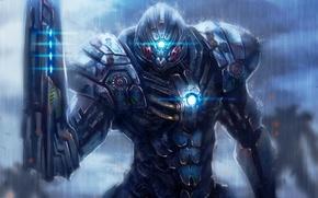 Picture metal, weapons, robot, warrior, art, armor