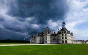 Picture the storm, the sky, clouds, castle, lightning, France, France, Chateau de Chambord, Chateau Chambord