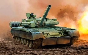 Picture weapon, war, art, painting, tank, T-80 BV