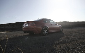 Picture red, bmw, BMW, shadow, red, drives, gravel, rear view, e46