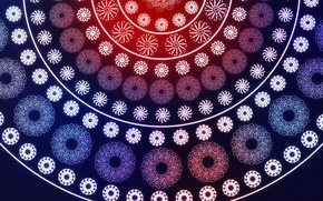 Picture circles, background, fractals, Azhur, red-blue