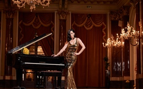 Picture girl, pose, dress, piano, Katy Perry, Katy Perry, singer, celebrity