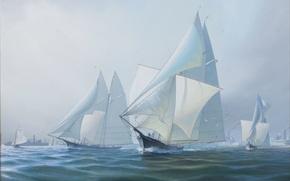 Picture sea, the sky, sailboats, Leonard John