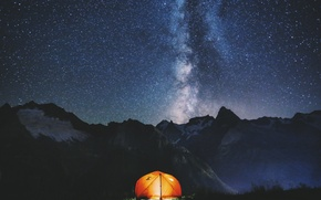 Picture the sky, night, tent, the milky way