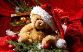Picture decoration, New Year, Christmas, bear, Santa, Christmas, New Year, decoration