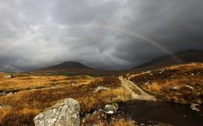 Wallpaper rainbow, the sky, grey, clouds, Scotland